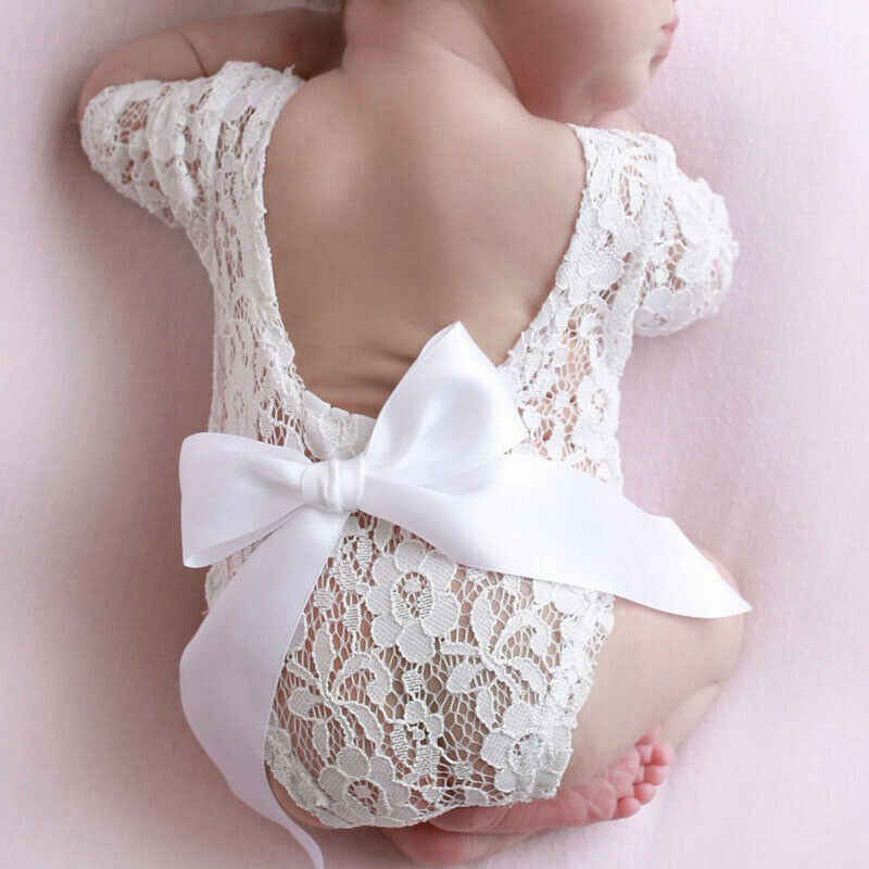 2020 Newborn Baby Photography Photo Prop White Lace Girl Baby Romper Long Sleeve Bow Hairband 2PCS Set baby costume Clothing