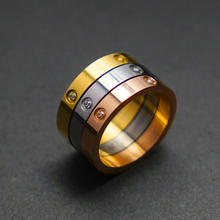 2019 Fashion Trendy Couple Rings Fit Women Men Lover Luxury Crystal Ring Stainless Steel Wedding Valentine's Jewelry Best Gift