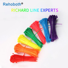 100 pcs 10 color 5*250mm Self-locking Nylon Cable sleeve Ties Colorful wire binding wrap straps Plastic Zip Tie UL Certified