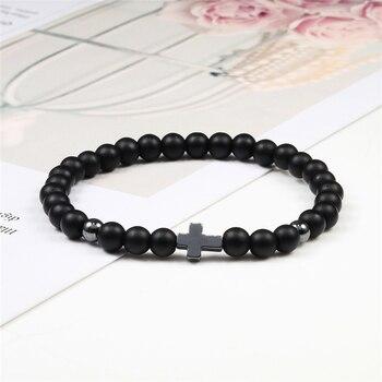 6mm Black Lava Rock Stone Onyx Beads Bracelets Classic Cross Stretch Tiger Eye Bracelet Religion Bangle Women Men Wrist Jewelry 4