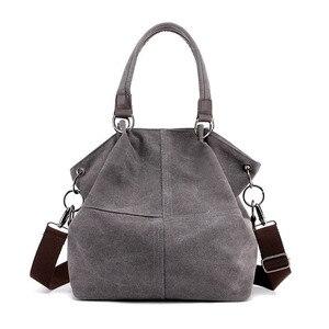 Image 2 - High Quality Canvas Women Handbag Casual Large Capacity Hobos Bag Hot Sell Female Totes Bolsas Trapeze Ruched Solid Shoulder Bag