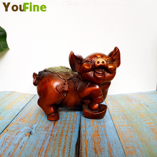 Pure copper bronze pig ornaments a pair of lucky wealth gold Feng Shui home decorations display Zodiac crafts