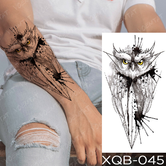 Waterproof Temporary Tattoo Sticker Clock Orange Blue Eyes Wolf Flash Tattoos Lion Compass Body Art Arm Fake Tatoo Women Men 4
