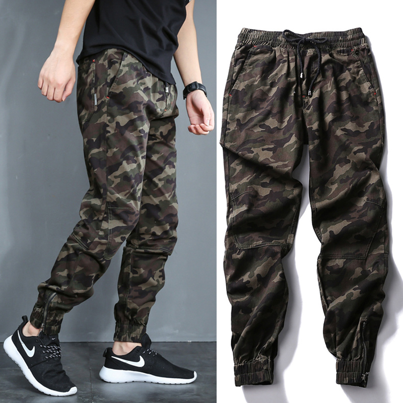 Fashion Streetwear Men Jeans Loose Fit Camouflage Military Harem Pants Hombre Slack Bottom Cargo Pants Hip Hop Joggers Pants Men