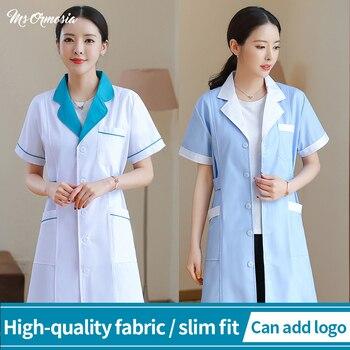 2020 new Long-sleeved uniform beautician work clothes dental work clothes pet shop uniform laboratory coat cotton scrub uniform