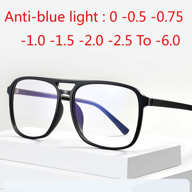 Square Finished Myopia Glasses Anti-blue Light Big Frame Double Beam Diopter 0 -0.5 -0.75 -1.0 -2.0 -2.5 -3.0 To -6.0