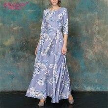 فستان نسائي جديد للربيع 2020 من S. FLAVOR فساتين نسائية ريترو منقوشة بالزهور ذات أكمام ثلاثية فساتين ماكسي للحفلات غير الرسمية