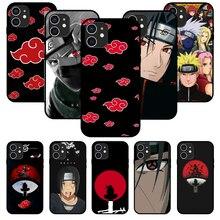 Para o iphone 11 12 8 plus mini pro x xr xs max 4 5 7 6s 8 se capa de telefone preto anime n-naruto akatsuki kakashi itachi