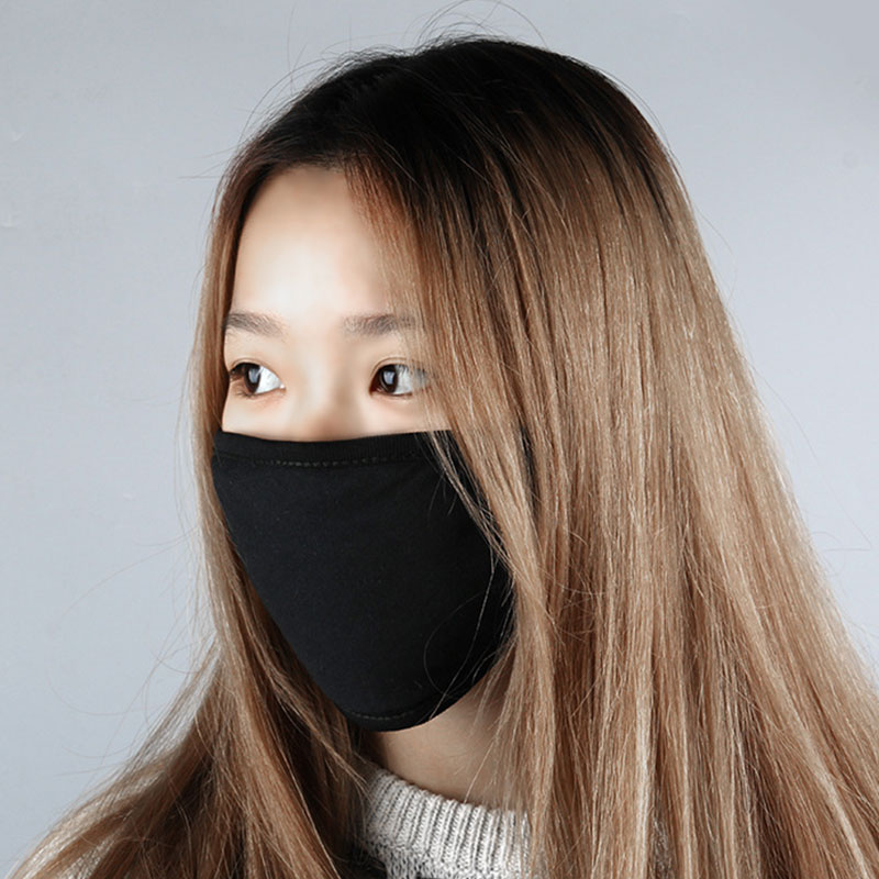 Black Modal Cotton Mask Unisex Simple Masks Comfortable Soft Cotton Mouth Masks Reusable Mask Anti-Dust Warm Mouth Face Mask New