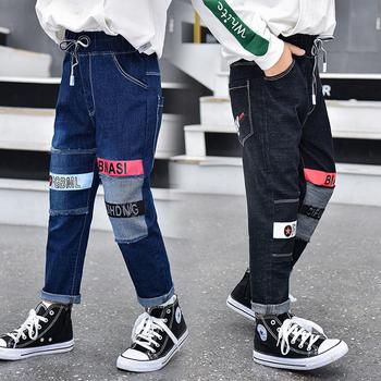 Babie lato chłopięce spodnie jeansowe dziecięce ubrania bawełniane dorywczo spodnie dziecięce nastolatek Denim chłopięce ubrania 4-14 lat tanie i dobre opinie Na co dzień Pasuje prawda na wymiar weź swój normalny rozmiar KH003 Elastyczny pas Chłopcy List Luźne Distrressed