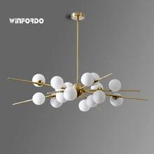 Plafonnier suspendu composé de boules de verre, design moderne et luxueux, éclairage d'intérieur, Luminaire décoratif de plafond, idéal pour un salon ou une salle à manger, modèle 2021