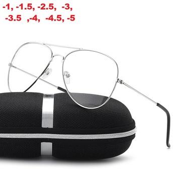 -1 -1 5 -2 -2 5 -3 -3 5 -4 -4 5 Retro metalowe duże oprawki okulary krótkowzroczność okulary dla kobiet i mężczyzn klasyczne okulary tanie i dobre opinie ShangeWFJia WOMEN Stop Stałe FRAMES Okulary akcesoria