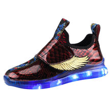 Kid Baby Boys Shoes Striped Bling Flat Led Luminous Sport Sneaker Children Kids Baby Shoes Four Seasons Trend Shoe botas##3(China)