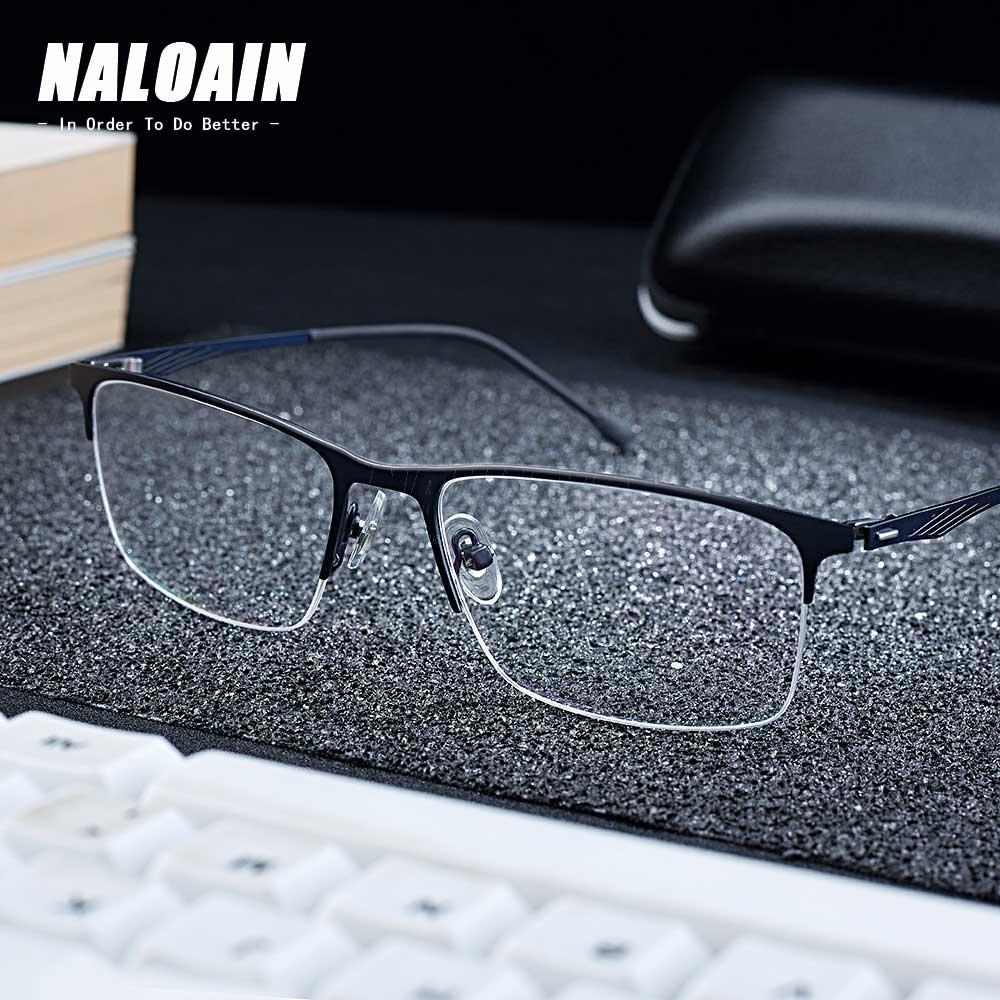 NALOAIN Prescription Glasses Frame Ultralight Half Square Myopia Optical Eyeglasses Alloy Frame Clear Lens For Men Women
