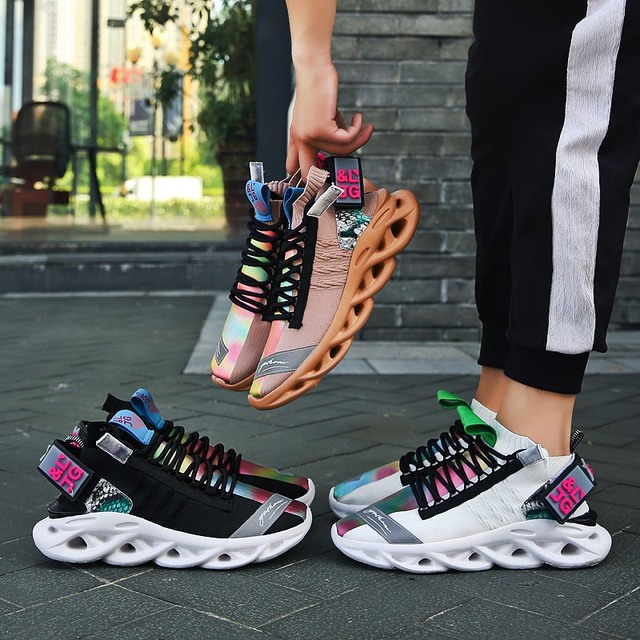 Classic flying woven trend mens casual shoes lightweight comfortable cushioning running shoes high elastic non slip wear shoes