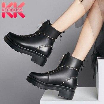 KemeKiss 2020 Women Rivets Genuine Leather Zipper Ankle Boots Platform Chunky Heel Black Boots Winter Footwear Size 34-39