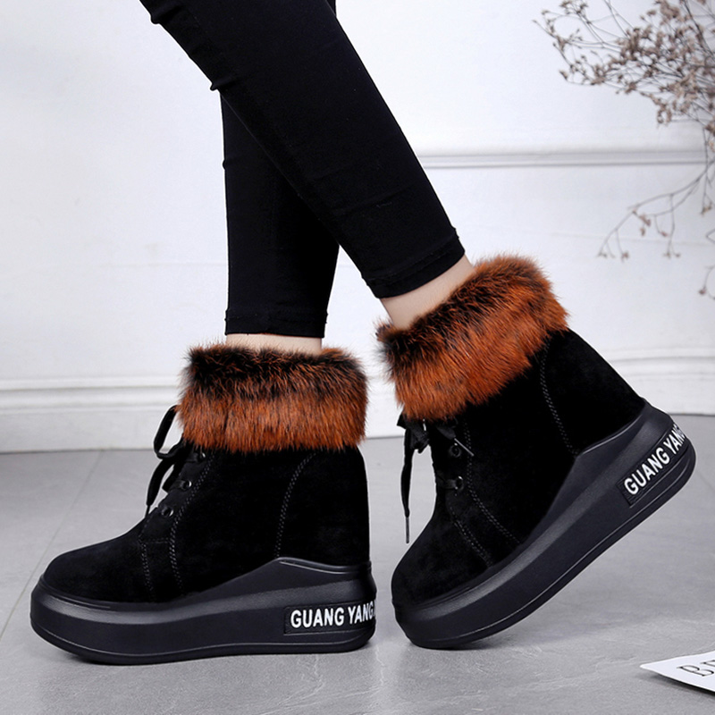 Women's Short Boot High Heel Boots Low Heels booties Shoes Bootee Woman 2019 Round Toe Australia Plush Booties Ladies Lace Up 38