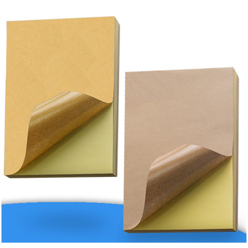 50pcs A4 Brown Kraft Paper Stickers Self Adhesive Inkjet Laser Printing Labels