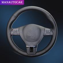 폭스 바겐 폭스 바겐을위한 스티어링 휠 커버의 자동차 브레이드 Tiguan Passat B7 Passat CC Touran Jetta Mk6 with Original Leather