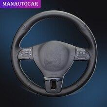 سيارة جديلة على غطاء عجلة القيادة ل Volkswagen VW جول تيجوان باسات B7 باسات CC توران جيتا Mk6 مع الجلد الأصلي