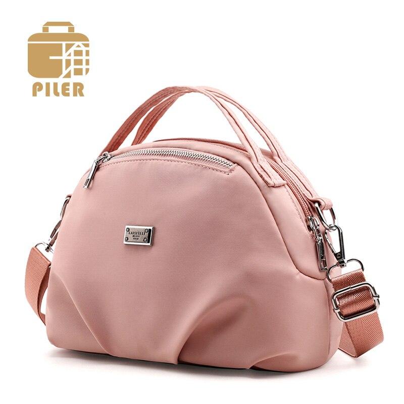 Piler Brand Designer Nylon Women Bag Shoulder Bag Purse Ladies Clutch Messenger Bag Cross Body Nylon Tote Pink Bag Small Handbag