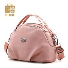 Piler Brand Designer Women Shoulder Bag Small Cross Body Handbag Purse Ladies Nylon Messenger Tote Clutch Pink Round