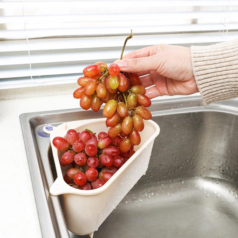 Sink Filter Kitchen Triangular Sink Strainer Drain Vegetable Fruit Drainer Basket Suction Cup Sponge Rack Storage Filter Shelf