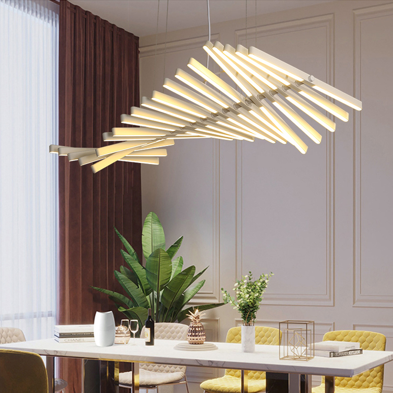 lowest price Nordic Living Room LED Chandelier lighting Fishbone Designer Dining room Hanging Lights Modern Novelty Office Pendant Lamp