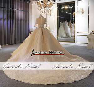 Image 4 - Luxury full heavy beading bridal wedding dress custom order with long train dubai weddings