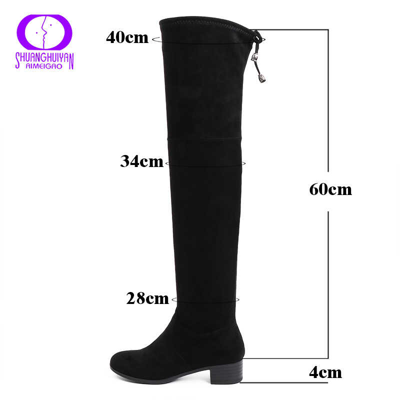 AIMEIGAO Sıcak Kürk Siyah Bayanlar Uzun Çizmeler Süet Deri Diz Yüksek Çizmeler Kadın Kış Dantel Up Düşük Topuklu kar Botları Artı