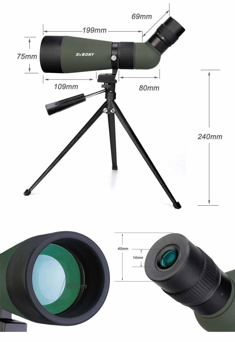 SVBONY SV404 12-26x60 Zoom Spotting Scope BK7 Multicoated Optics Lens Telescope Hunting Shooting Monocular w/Desktop Tripod