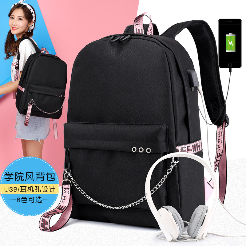 2019 Bangtan Boys Rap Monster JUNG KOOK JIMIN <font><b>Backpack</b></font> School Bags Mochila Travel Bags Laptop Chain <font><b>Backpack</b></font> Headphone USB Port image