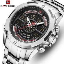 Naviforce 9170sb Роскошные мужские часы Военные спортивсветодиодный