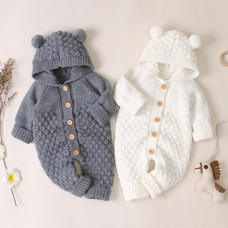 Autumn Long Sleeve Knitted Solid Print Hoodie Rompers