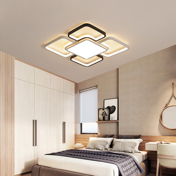 Minimalist Rustic Farmhouse Bedroom Room Lamp Led Dimmable House Lighting Square Ceiling Light Fixtures With Remote Control