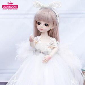 Muñeca BJD 1/6, 18 muñecas articuladas de bola, muñeca de 30CM para niñas con vestido blanco, peluca, zapatos, juguetes de maquillaje para niñas, colección de regalos de cumpleaños