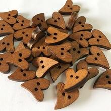 100 шт/лот деревянные пуговицы в форме сердца рукоделие скрапбукинг