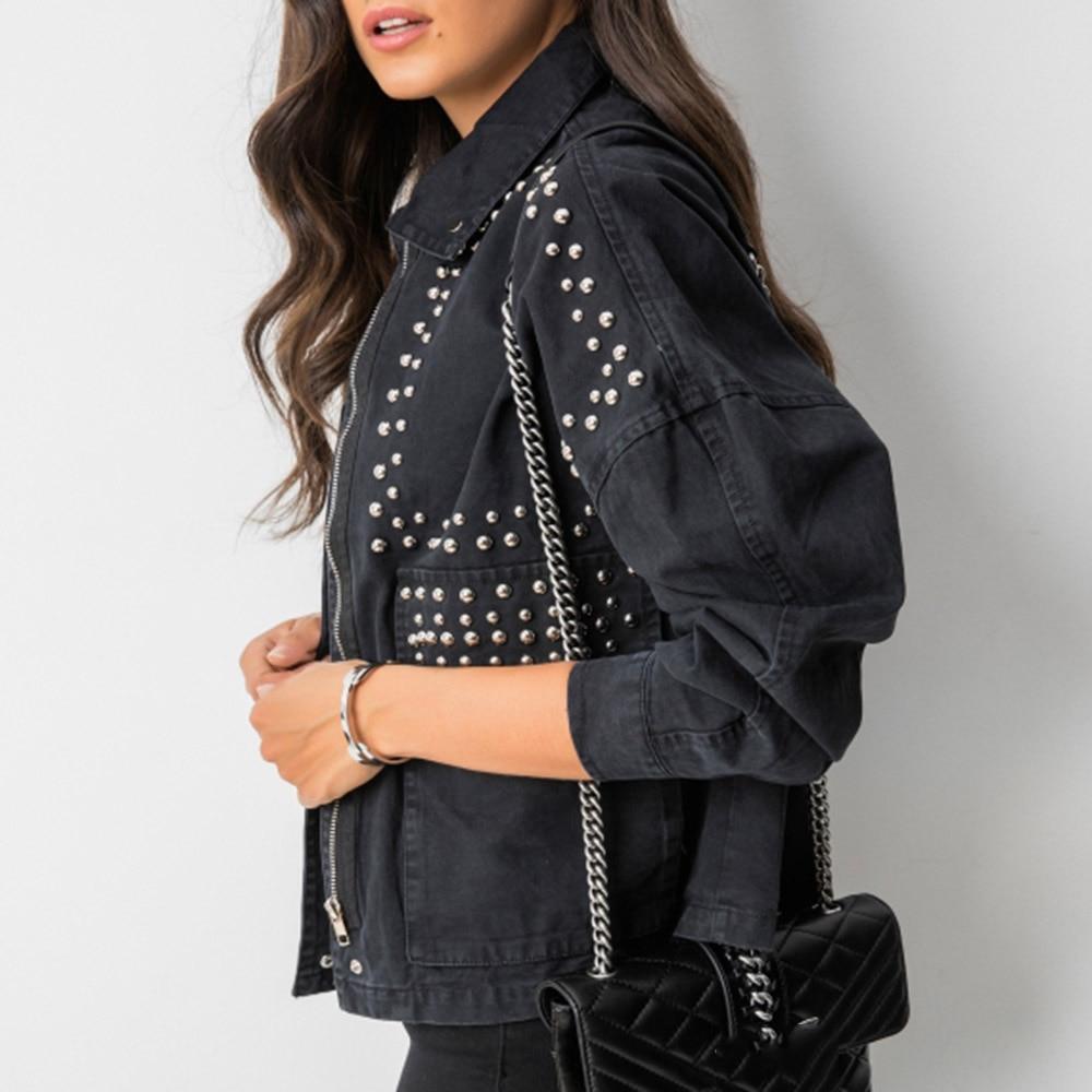 Kobiety fajna bluza harajuku nitowana kurtka płaszcz koreańska krótka czarna jeansowa kurtka frezowanie czarny podstawowy płaszcz z długim rękawem