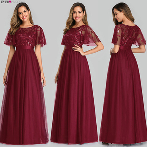 Image 4 - Robe De Soiree Sparkle Abendkleider Lange Immer Ziemlich EP00904GY A Line Oansatz Kurzarm Formale Kleider Frauen Elegante Kleider