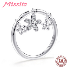 MISSITA 100% 925 Sterling Silver White Daisy Pendant Rings for Women Jewelry Brand Crystal Ring Anniversary Gift