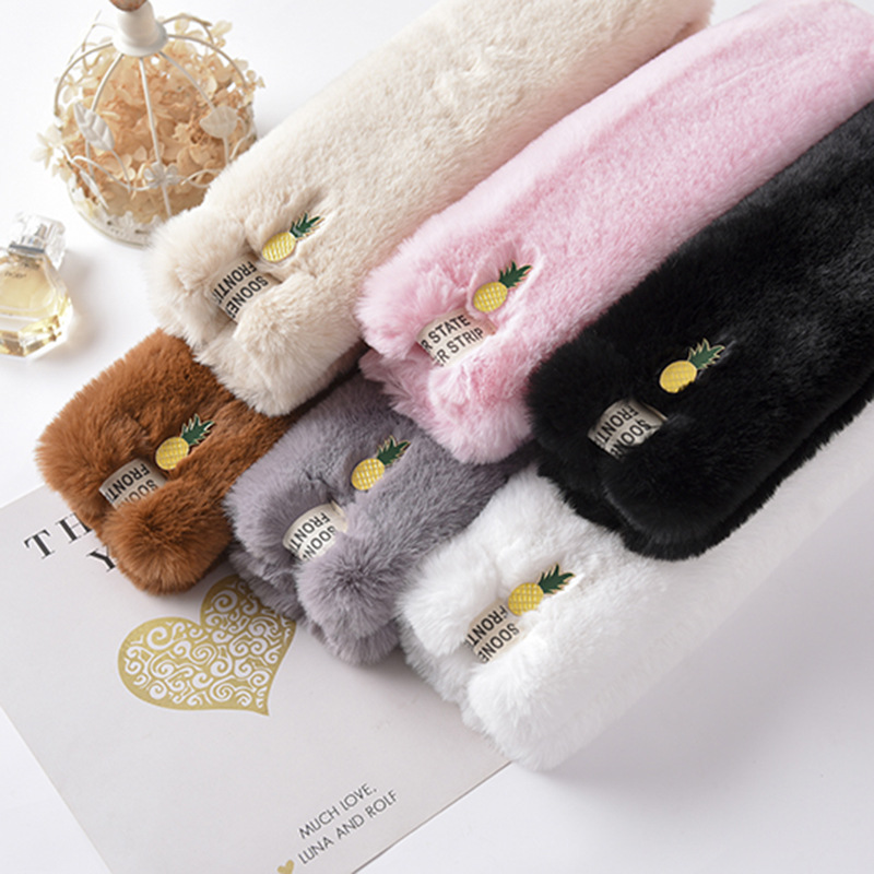 Autumn And Winter New Style Imitation Rabbit Fur Solid Color Pineapple Scarf Korean-style Versatile Fashion Baby Scarf Thick War