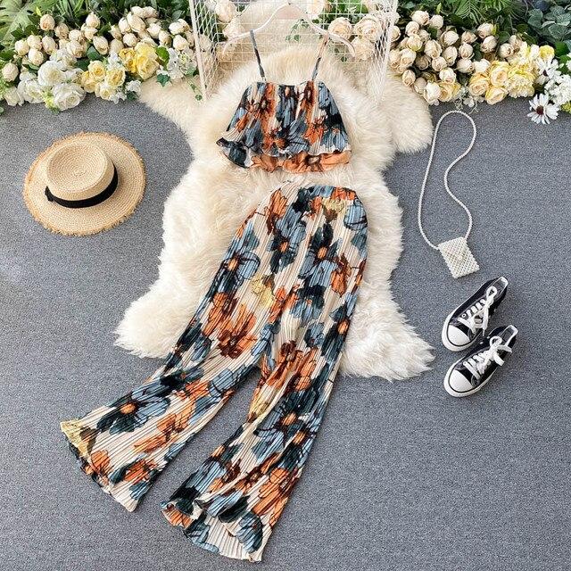 Купить женские летние комплекты для отпуска стильный короткий топ с картинки цена