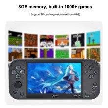 Console de jeux vidéo rétro portable X20, écran de 2021 pouces, lecteur d'arcade, 8 go, 5.1 jeux inclus, prise en charge de la sortie HD, nouveauté 1000