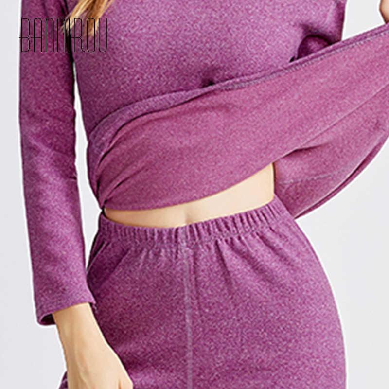 Femme hiver chaud sous-vêtement thermique ensemble pour femmes solide Simple élastique femme vêtements de nuit thermique vêtements hiver 2019 nouveau 1 ensembles