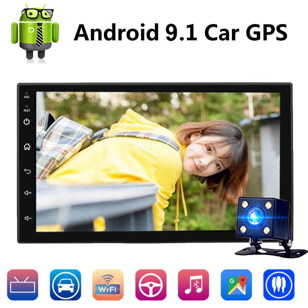 7 2 Din Android 9.1 Car GPS Navigation 1024*600 Universal Wifi Bluetooth Car Radio Stereo Multimedia Play Support Rear View Cam