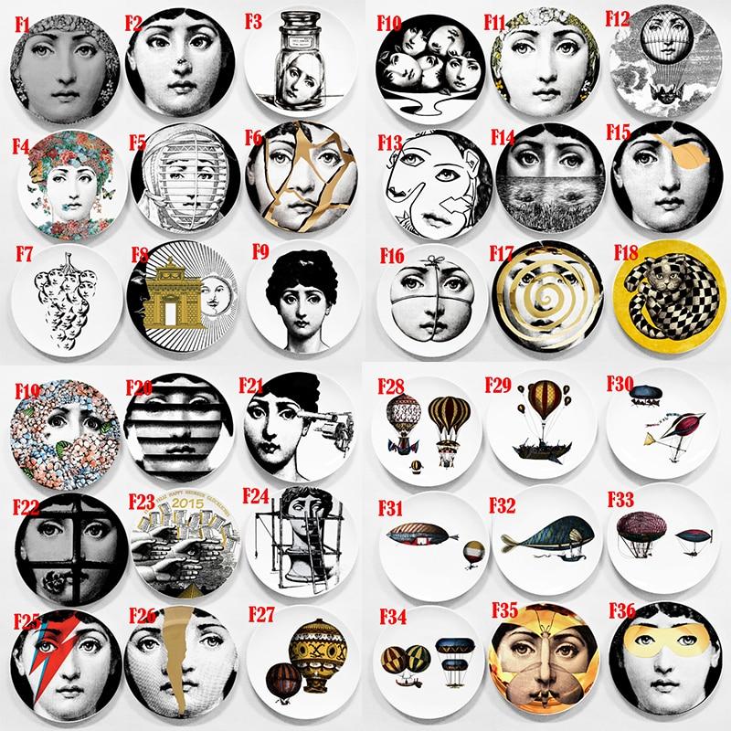 Fashion Style Lina Cavalieri Face Decorative Hanging Plates Round Beauty Face Tray Dish Ceramic Lady Portrait Craft Decor