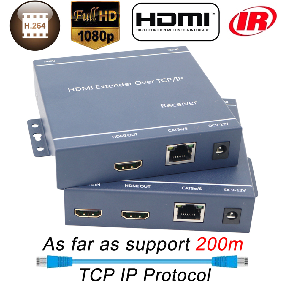 2020 660ft IP Network HDMI Extender With IR 1080P HDMI Extender Transmitter Receiver Over CAT5e CAT6 Rj45 Ports HDMI Extender