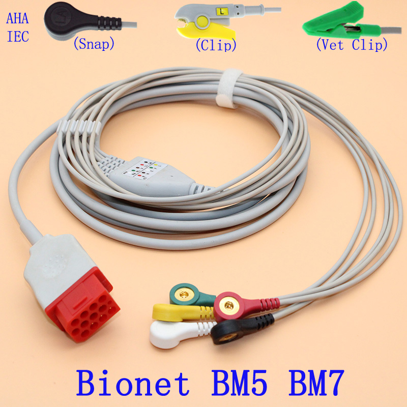 Compatible With 12PIN Bionet BM5 BM7 Patient ECG Monitor 5 Lead Cable And Electrode Connector Of Snap/Clip,AHA OR IEC
