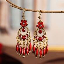 Винтаж изделия из Индии женские красные серьги капли с кисточками