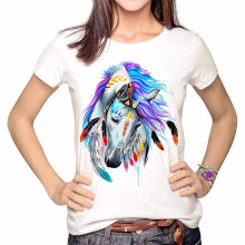 Horse Head Print Women T Shirt Female Summer Casual Tshirt Short Sleeve Fashion Top